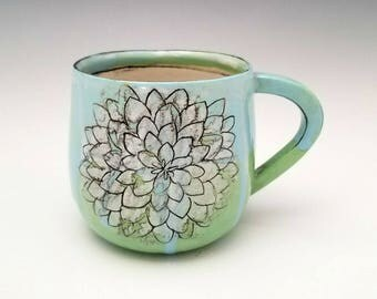Handmade Ceramic Mug Porcelain Mug Floral Pattern Pottery Cup 12 oz mug