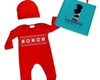 ROCKSTAR BABY KIT Long Sleeve Holiday Skull Red Romper, Hat & optional gift box