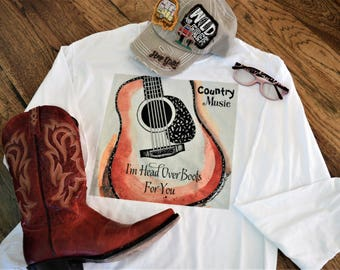Country Music, I'm Head Over Boots For You, Country Music T-Shirt, Music Shirt Vinyl Country Music Lover Shirt Music Lover Tee Concert Shirt