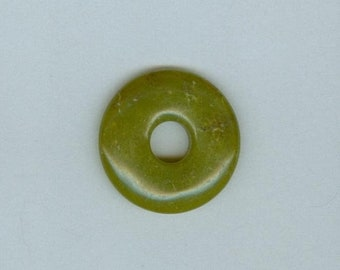 PI DAY SALE Green Donut Pendant, 35mm Lemon Chrysoprase Gemstone Pi Donut Focal Pendant 3118T
