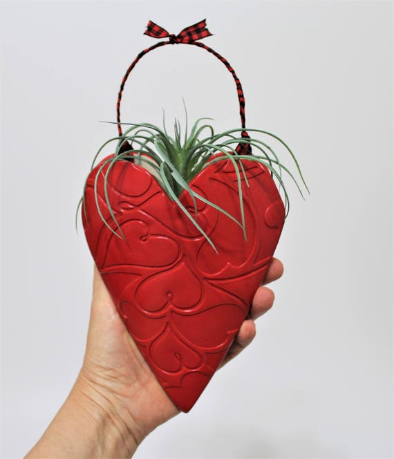 Red Decor - Red Heart - Succulent Planter - Candy Holder - Vase - Hanging Planter - Gift for Her - Handcrafted - Stoneware