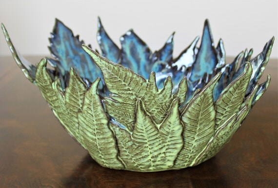 Decorative Bowl - Fern - Handmade Pottery - Mother's Day - Wedding - Anniversary - Dinning Room Centerpiece - Candle Holder - Stoneware