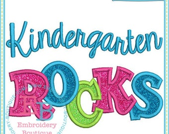 Kindergarten Rocks Applique Short or Long Sleeve Ruffle T-shirt with or without monogram option - back to school shirt  first grade shirt