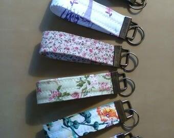 Wristlet Key Fob Key Chain Key Ring Floral Polka Dots Accessories Keys Fabric Handmade