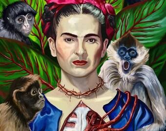 Frida Kahlo Spider Monkey Jungle Portrait Art Print 8 x 10 inches