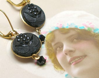Hyacinth, Antique BUTTON earrings, Victorian flowers in black glass. One of a kind button jewellery.  Present, gift.