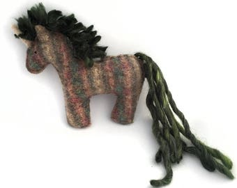 Green Mane Unicorn - Recycled Wool Sweater Plush Toy