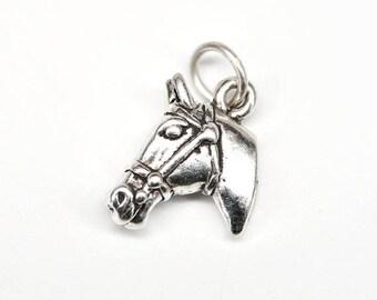 SALE Horse Head Sterling Silver Equestrian Animal Charm Pendant no. 1810