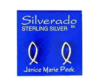 SALE Earrings Christian Fish Sterling Silver Ear Studs no. 3422