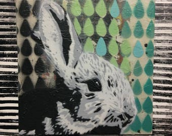 Rabbit Original Art Painting on Wood