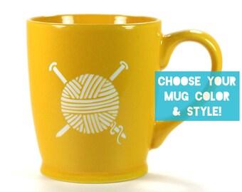 Knitting Yarn Mug - Choose Your Cup Color