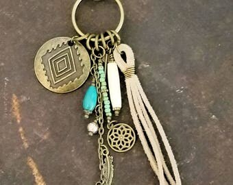 Tassel Keychain | Boho Tassel Charm | Southwest Tassel Bag Charm | Southwest Key Chain | Sari Silk Key Chain | Tassel Purse Charm |