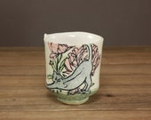 Kitty in the Garden Whiskey Cup  Gift for the Animal Lover  Garden Cup  Tea Cup  Yoga Cat