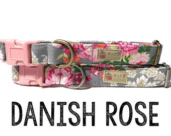 "Vintage Dog Collar - Floral Dog Collar - Girl Dog Collar - Shabby Chic Dog Collar - Antique Metal Hardware - ""Danish Rose"""
