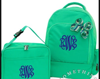 Buckingham Collection Monogrammed Backpack lunch and Hairbow, Personalized School Bags for Girls, Mint Bookbags for kids, lunch cooler