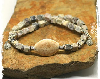 Elegant short boho necklace for women, Gray necklace, Neutral colors jewelry, Stone and shell choker necklace, Rustic bohemian jewelry