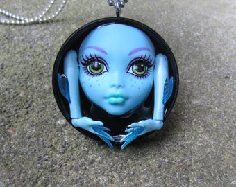 Lagoona Blue 13 Wishes - upcycled  Monster High bottle cap doll pendant