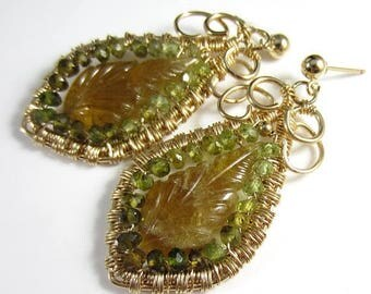 SUMMER SALE The Dangling Leaves Earrings - Carved Tourmaline with Petrol Tourmaline in 14k Gold Fill