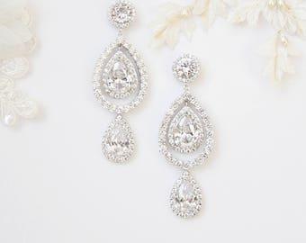 Unique Bridal Earrings Modern Minimalist Diamante Teardrop Cocktail Earrings