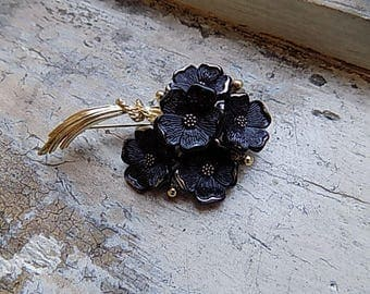 FREE SHIPPING Vintage Balck Flower Floral Bouquet Brooch Pin