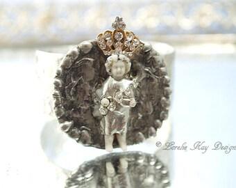 Frozen Charlotte Princess Cuff Bracelet Doll Bracelet Soldered Cuff Rhinestones Wearable Art Statement Bracelet