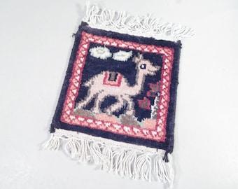 Vintage camel mug rug, drink coaster, boho decor, cute camel, camel coaster, mini rug