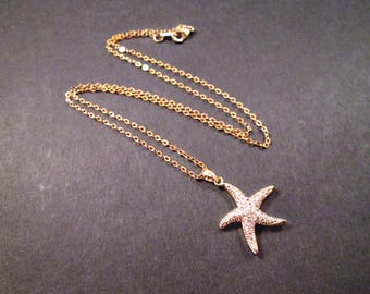 Starfish Pendant Necklace, Gold Chain Necklace, White Glass Rhinestone Pave Necklace, FREE Shipping U.S.