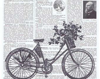 Bicycle,Bike,Basket.Collage.Pretty Picture.Antique Book Page Print,handmade gift.home deco,vintage,retro.french.dad.french.child.flowers
