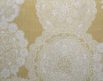 Fabric, Japanese Cotton Fabric, Doilies, Quilt Gate, Yellow, Sewing Fabric, Quilting Fabric, By The Yard, Fat Quarter, Printed in Japan