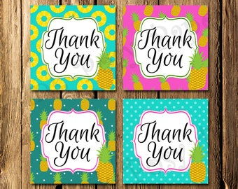 Printable Pineapple Tropical Thank You Tags - Instant Download
