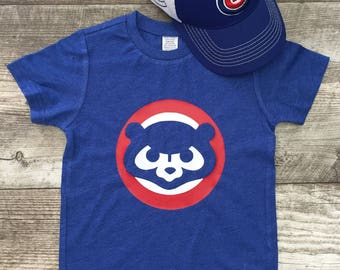 Mens Unisex Chicago Cubs Cubbies Bear Baseball T Short Sleeve T Shirt Blue Red modern graphic trendy Tee Infant Toddler Kid