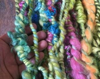 Chumbawamba, wild art yarn, 28 yards, multicolored textured art yarn, handspun, bulky wild yarn, JUMBO yarn