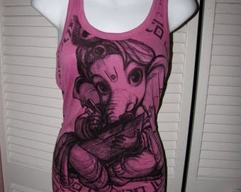 snip snip its my birthday deconstructed magenta pink purple sliced cut and woven crochet backless lucky elephant Ganesha Ganesh yoga tank to