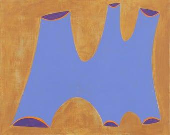 Minimal Abstract Figurative Shape  Painting on Board Purple Mountain