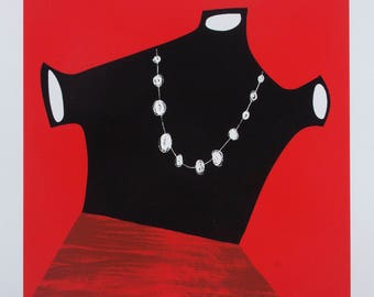 Figurative Print Abstract Woman with Pearls Limited Edition 4 Color Silk Screen