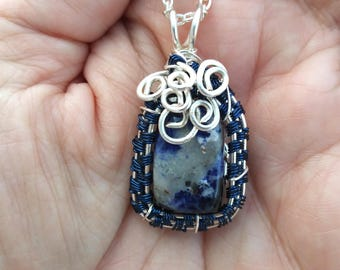 Sodalite Sterling Silver Wire Wrapped Pendant