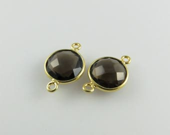 17mm Smoky Quartz Bezel Connector, Round Faceted, Gold-Filled - Matching Pair (CN124)