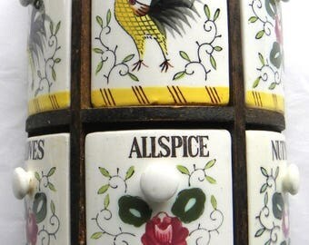 Vintage Rooster Roses Spice Rack Japan Wood Rack 6 Ceramic Spice jars
