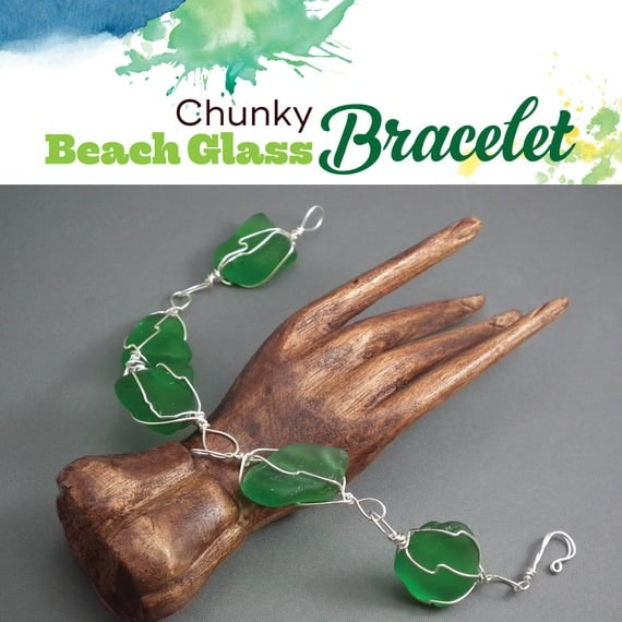 TUTORIAL: Chunky Beach Glass Bracelet or Necklace (Wire-Wrapped Instructions)