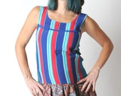 Striped tank top, Summer sleeveless top, Colorful tank top, Blue and red top, Womens tops, Womens clothing, MALAM, size UK 12