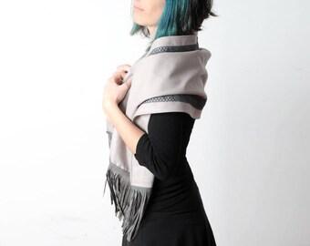 Light grey fringed shawl, Womens grey scarf with leather fringes, Wide grey shawl, Womens accessories, Winter fashion, MALAM
