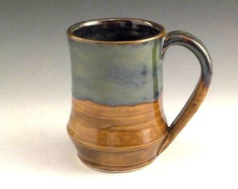 Stoneware Coffee Mug - Ceramic Beer Stein - Iron Brown / Blue Green - Dad or Grad  Gift - 14 Ounces - Ready to Ship - Handmade Pottery m293