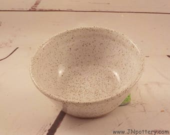 Small Pet Food Dish - Kitty Water Bowl - Stoneware Puppy Dish - Speckle White Glaze - Ceramic Kitchen Prep Bowl - Ready to Ship  v645