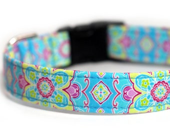 Blue Floral Dog Collar, Personalized Engraved Collar - Cabana Blue