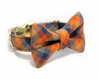 Plaid Bow Tie Collar, Personalized Bow Tie Collar option, Bias Blue and Rust - The Ranger