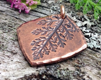 Copper Yarrow Leaf Imprint Pendant, Gardener Gift, Rustic Plant Jewelry, Botanical Impression, delicate lacey folage