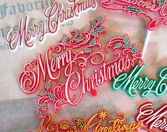 Retro / Christmas Holiday Script / Cake Toppers / Six Items / Painted Plastic / Variety / Faux Gingerbread Houses