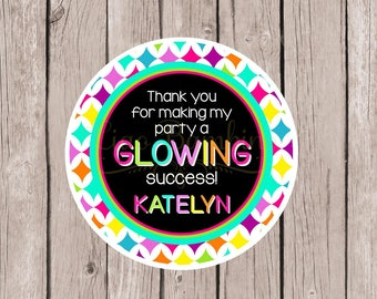 PRINTABLE GLOW Birthday Party Favor Tags / Print Your Own Personalized Neon 80's Party Favor Tags or Stickers / 80's Party / You Print