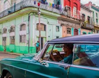 Cuban classic car photograph street scene Havana blues greens purple vintage automobile Cuban car travel photo wall decor art original