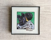 "Isle of Dogs - Chief and Atari, Original Drawing, 4"" x 4"", TV, Wes Anderson, Movies, Pop Culture, ink and crayon"